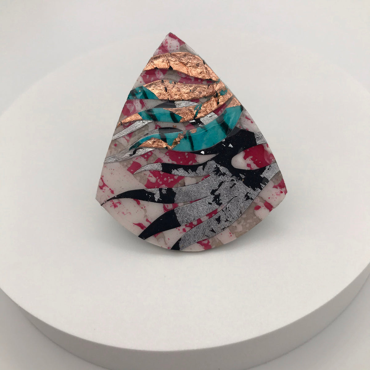 Díog pink/black/silver/turquoise/rose-gold ring