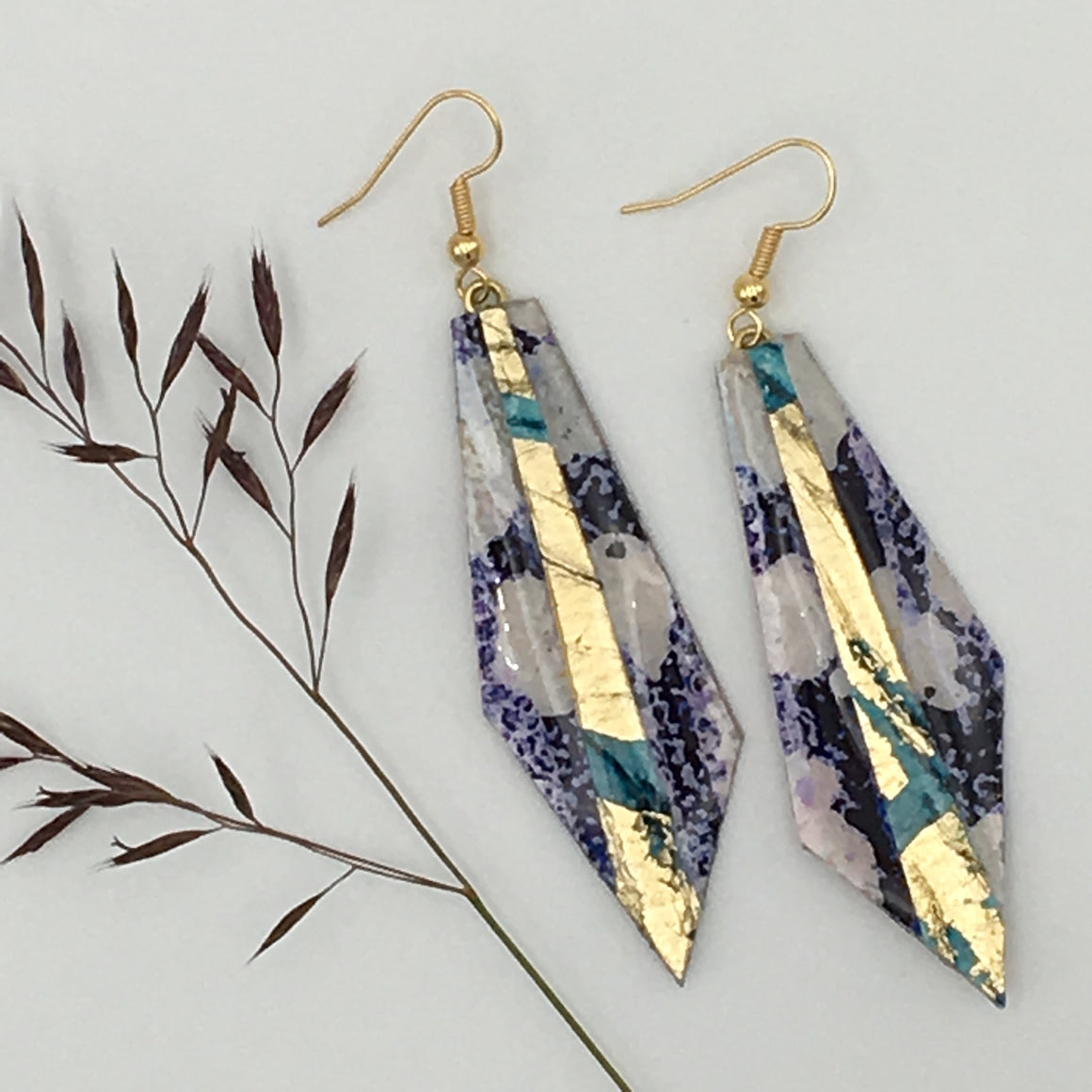 Beulah batik textile earrings in indigo/blue/gold