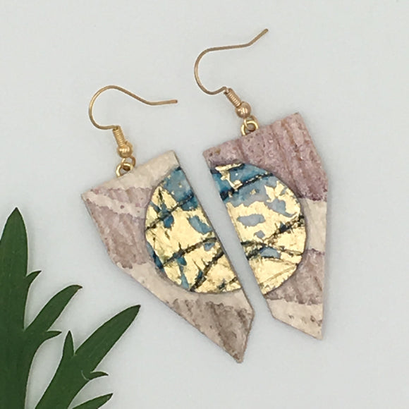SOLD OUT Coquette batik textile earrings in mocha/gold/aqua