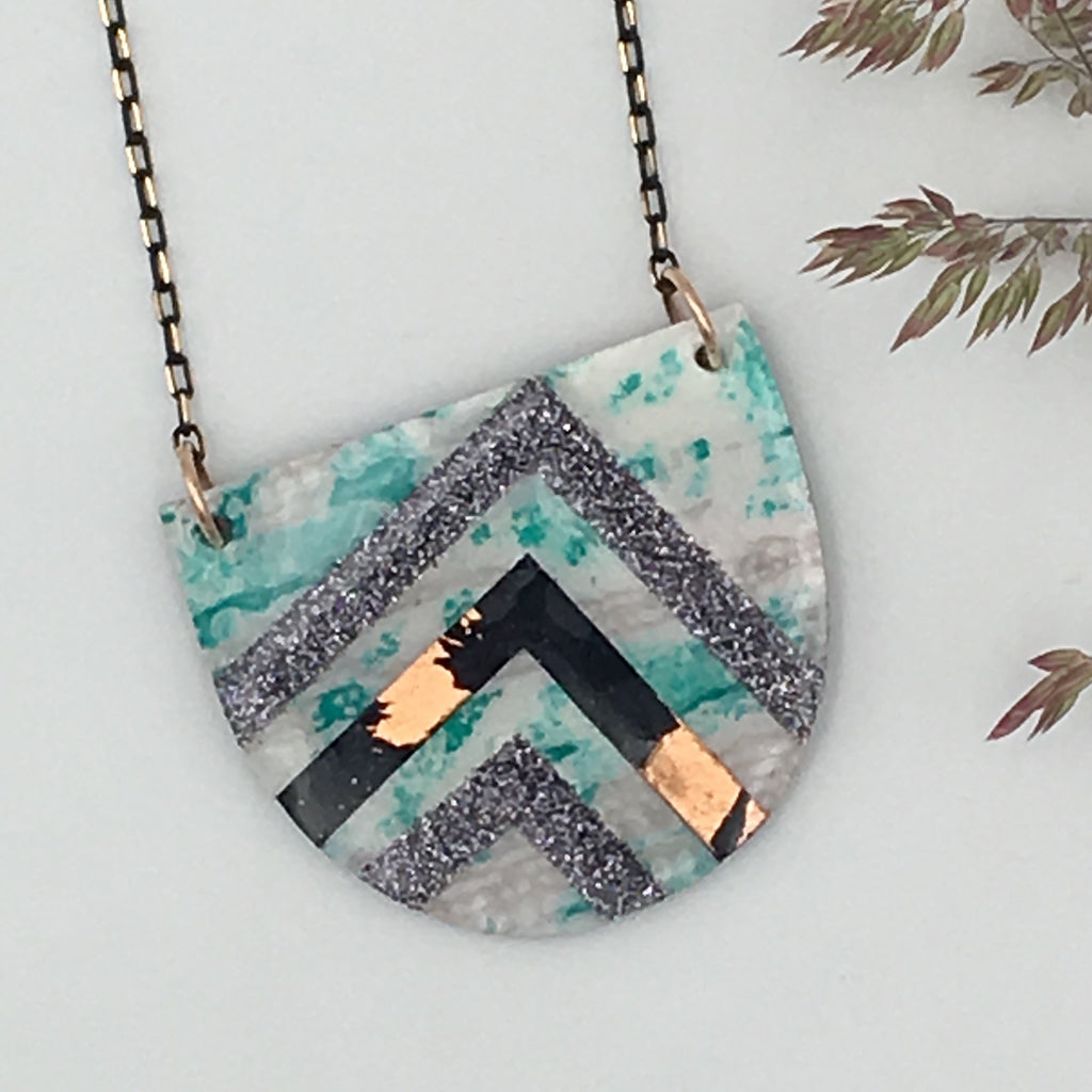 Sayre batik textile necklace in mint/black/copper and grey shimmer