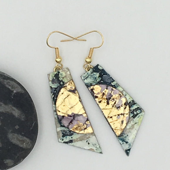 Cora batik textile earrings in dark green/gold/aubergine