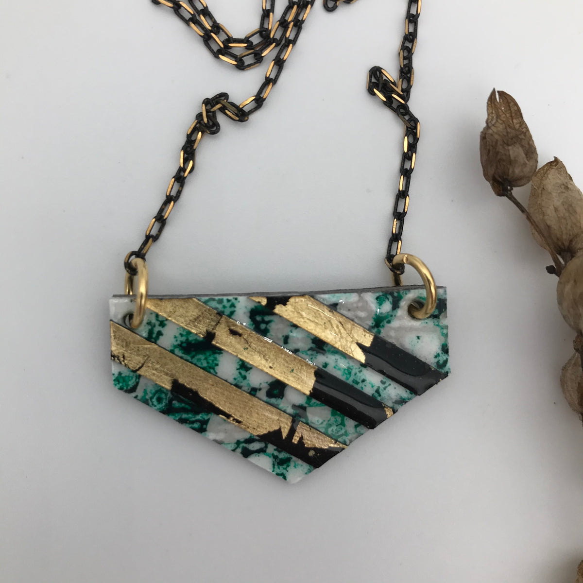 Ralston batik textile necklace in dark green/black/gold