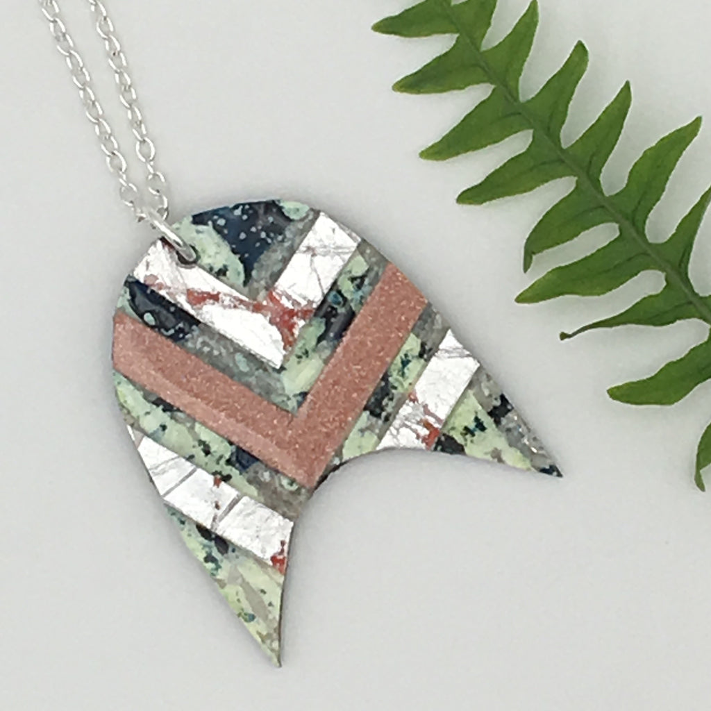 Bly batik textile necklace in dark green with silver/coral and blush shimmer chevrons