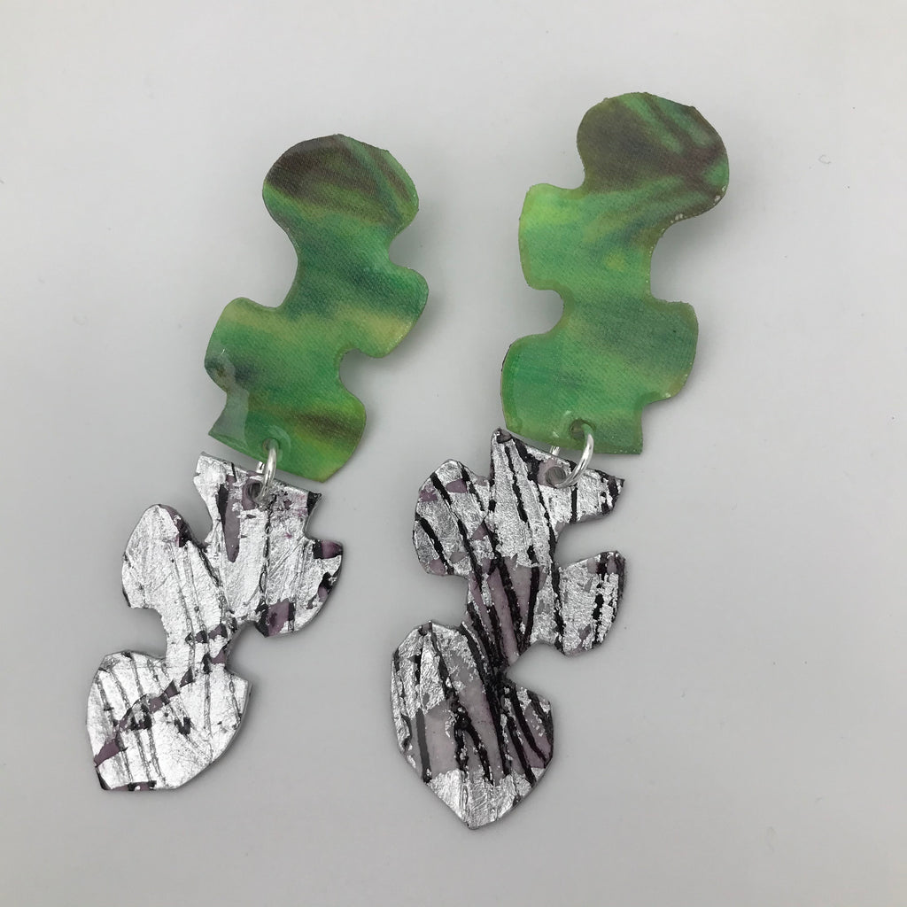 Puzzle post drop earrings in silver/aubergine sgraffito and bud green silk