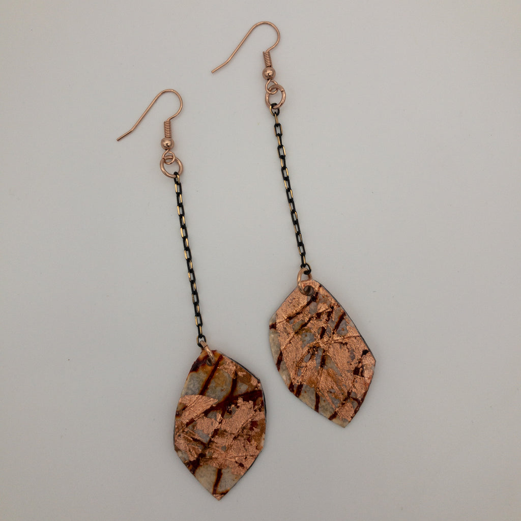 Gile batik textile earrings in rust and rose gold