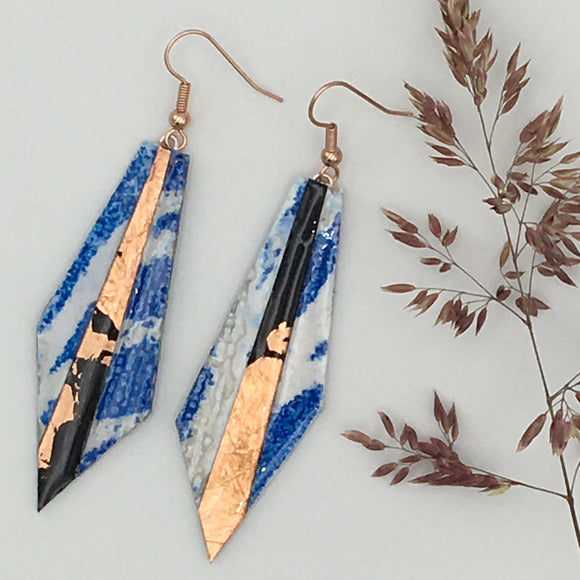 Beulah textile earrings in blue/rose-gold/black