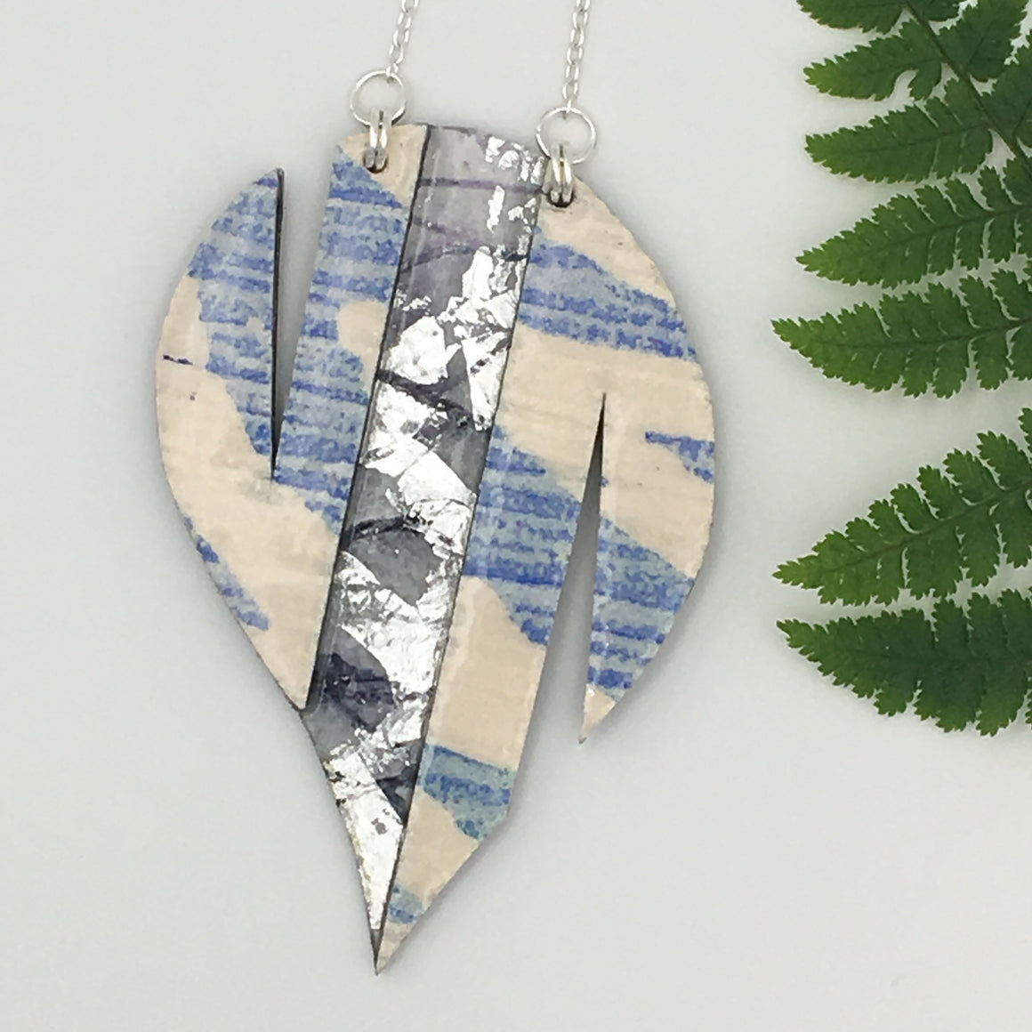 Thymian batik textile necklace in ice blue/silver/aubergine