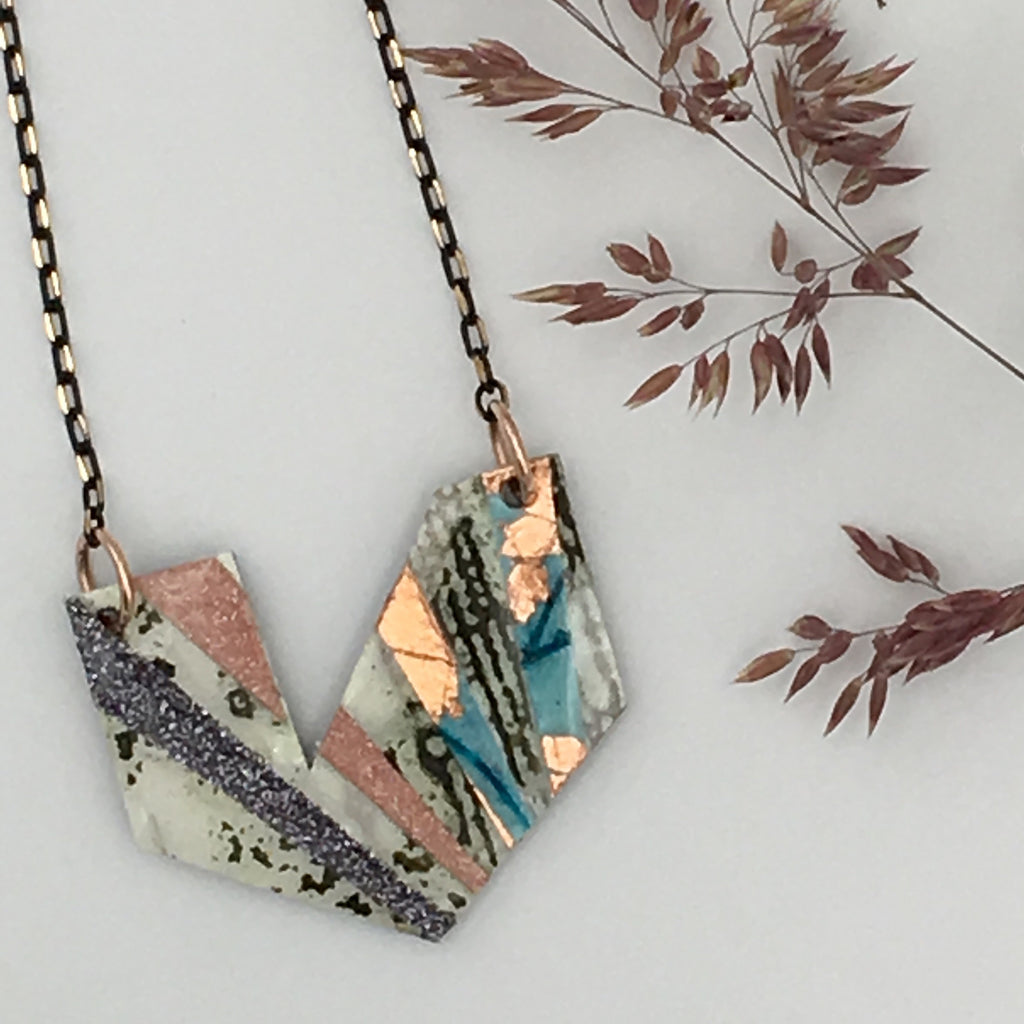 Ezrine batik textile necklace in olive/white/blue/rose-gold and blush/pewter shimmer
