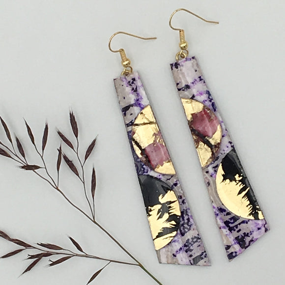 Hoop-La batik textile earrings in purple/red/black/gold