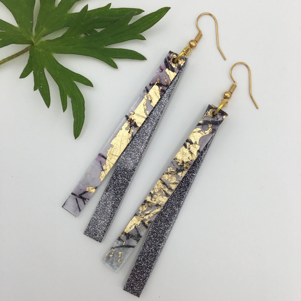 Dulra batik textile earrings in aubergine/gold/pewter