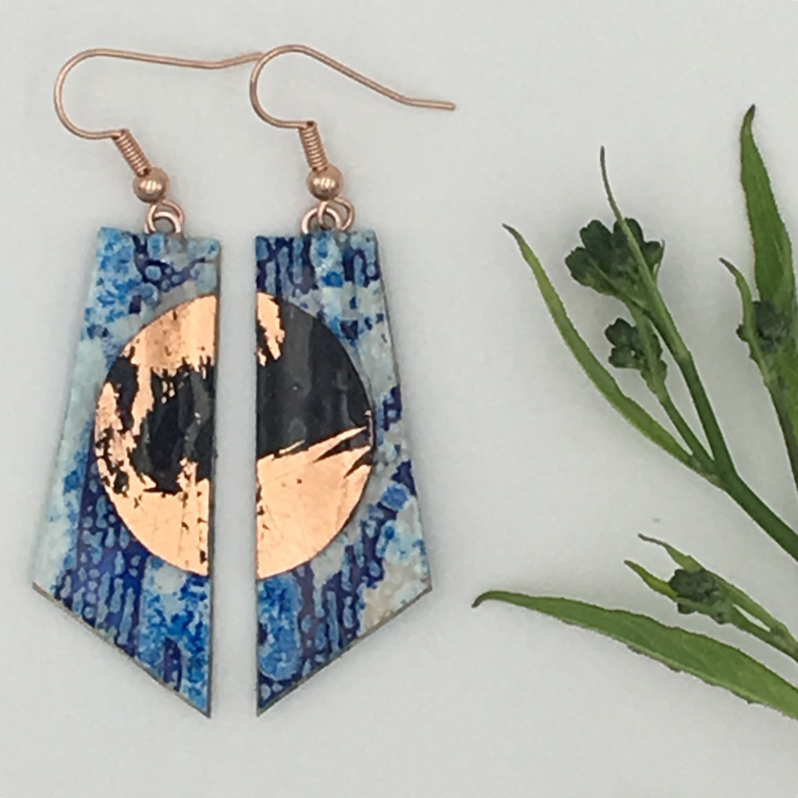 Cora batik textile earrings in blue/black/rose gold