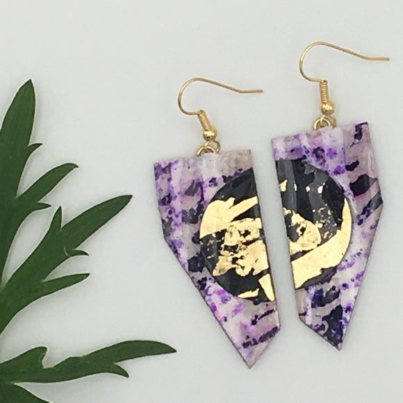 Coquette batik textile earrings in purple/gold/black