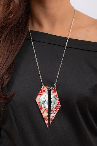 Zazu batik textile necklace in poppy/silver/celadon