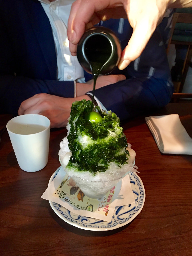 Matcha kakigori with azuki bean paste, mochi - green tea