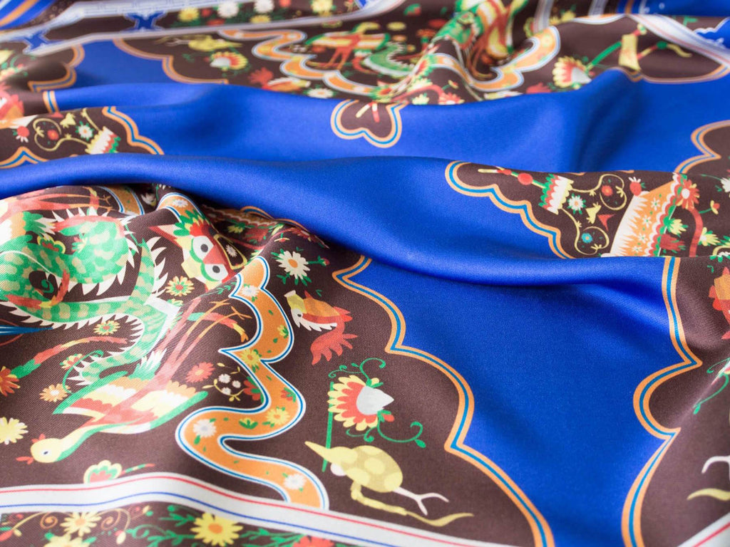 Nonamu's blue mansion silk scarf