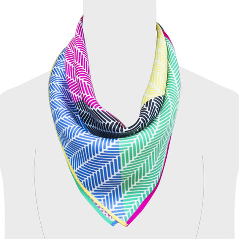 Nonamu Herringbone Multi Colour Silk Scarf, made in England