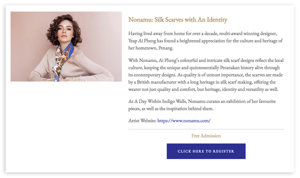 Nonamu silk scarf exhibition in the Blue Mansion