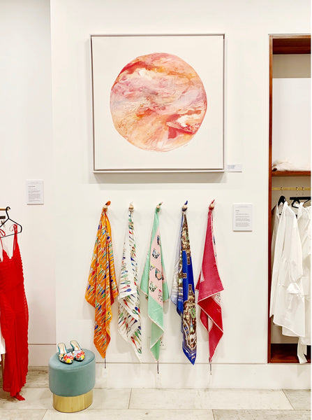 Nonamu at Curated Crowd Mayfair pop up store with Victoria Young Jamison art piece