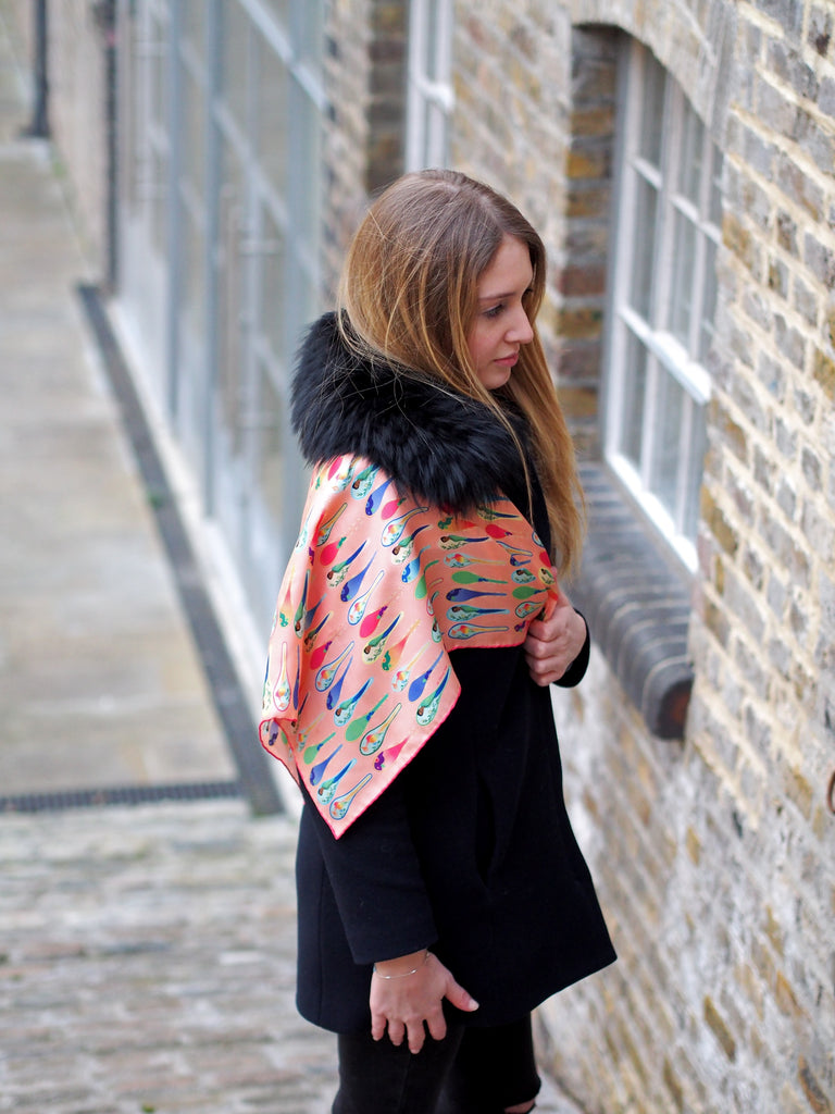 Nonamu peach silk scarf with black coat