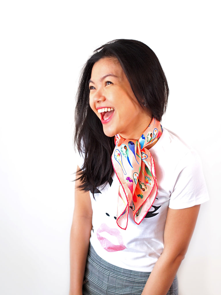 Wearing Nonamu silk scarf in peach, Sonrisa studio t-shirt