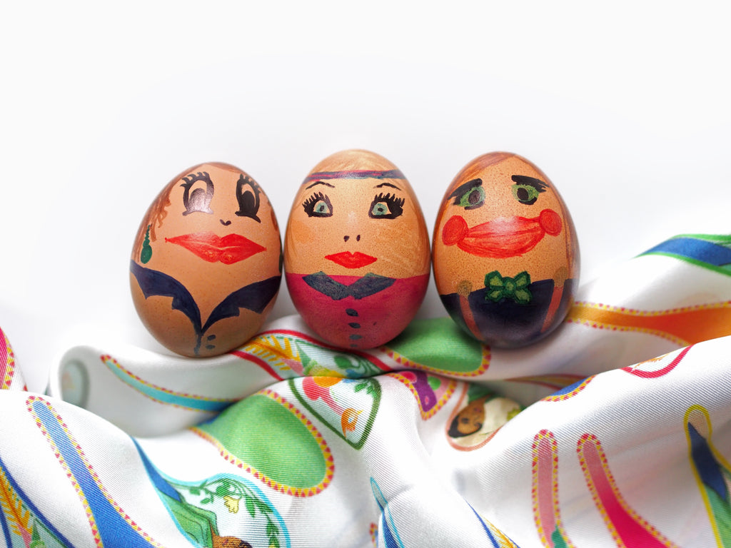 Painted Easter Egg Face with Nonamu white silk scarf