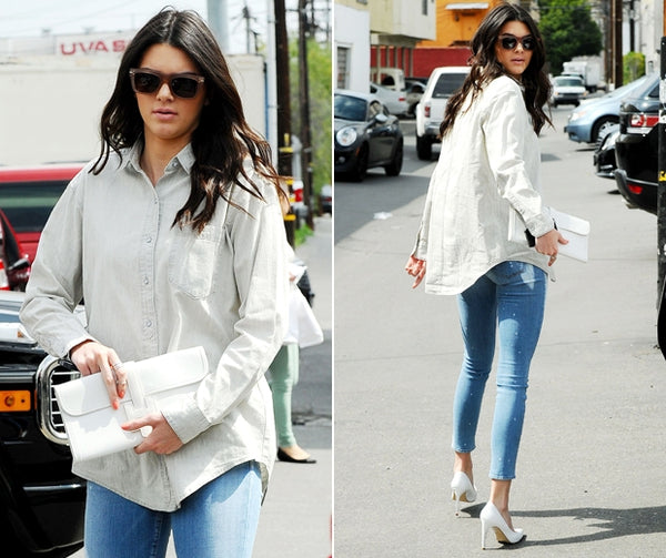 Kendall Jenner in boyfriend shirt look