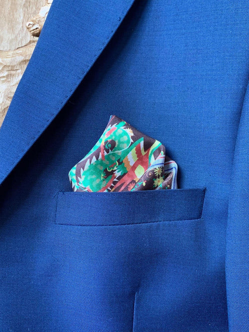 Blue Mansion Silk Pocket Square, Indigo Blue