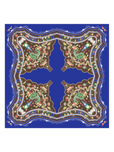 Blue Mansion Silk Scarf, Indigo Blue