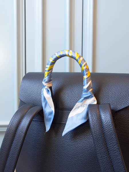 Blue and Yellow Handbag Skinny Scarf