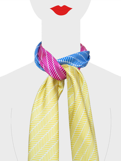 Herringbone Silk Scarf, Canary Yellow