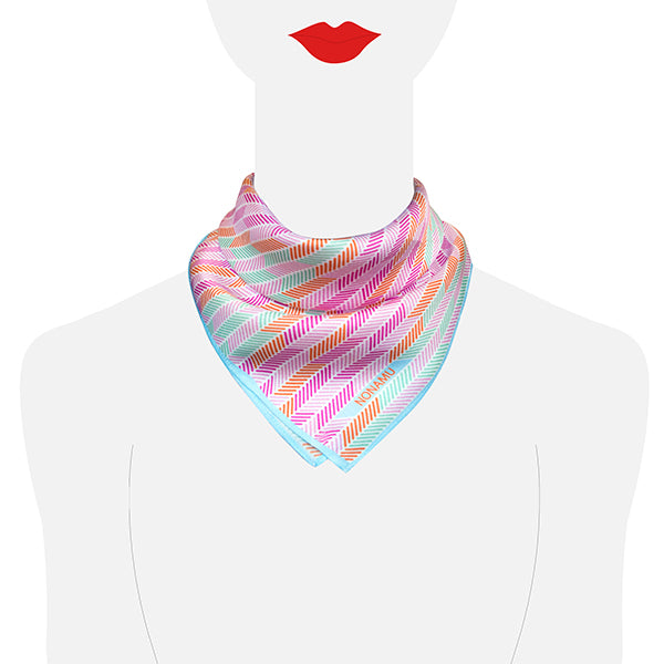 Herringbone Lapis Silk Scarf, Pastel Blue Pink Green Orange