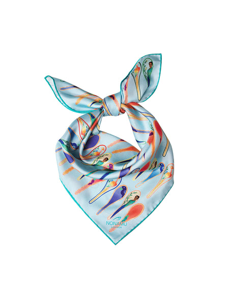Porcelain dancing spoons silk scarf, light blue