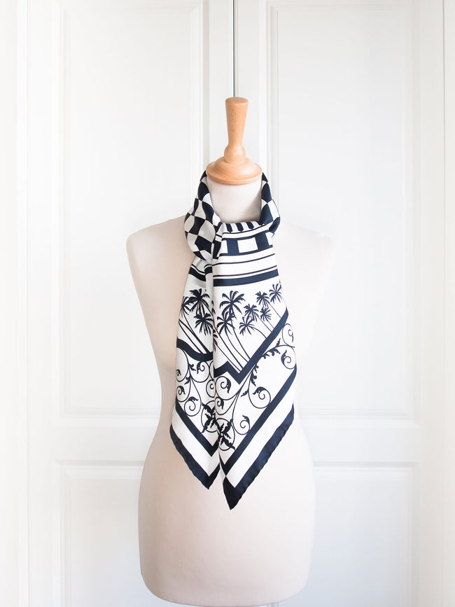 Eastern & Oriental Silk Scarf, Black White