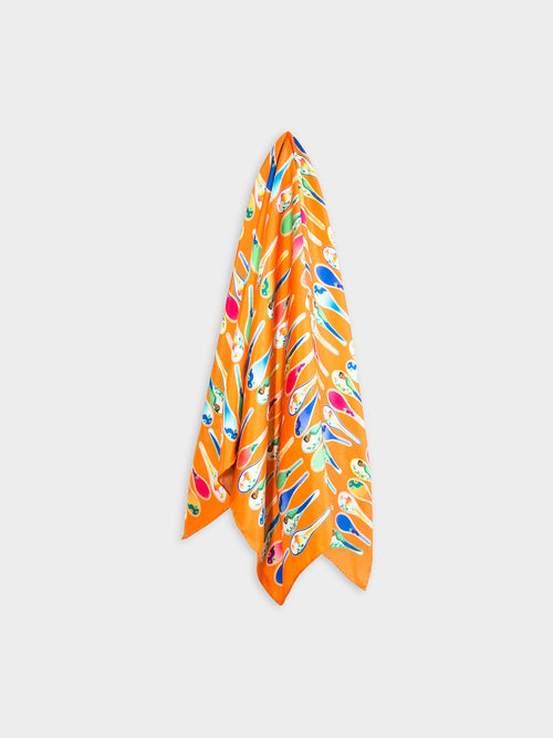 Porcelain dancing spoons silk scarf, orange