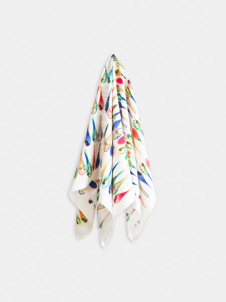 Porcelain dancing spoons silk scarf, white