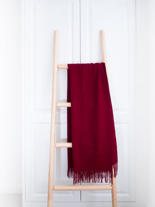 Wool Shawl Wrap, Burgundy Red