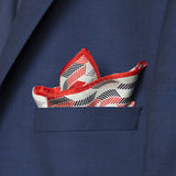 Herringbone Lapis Silk Scarf, Red Black Green