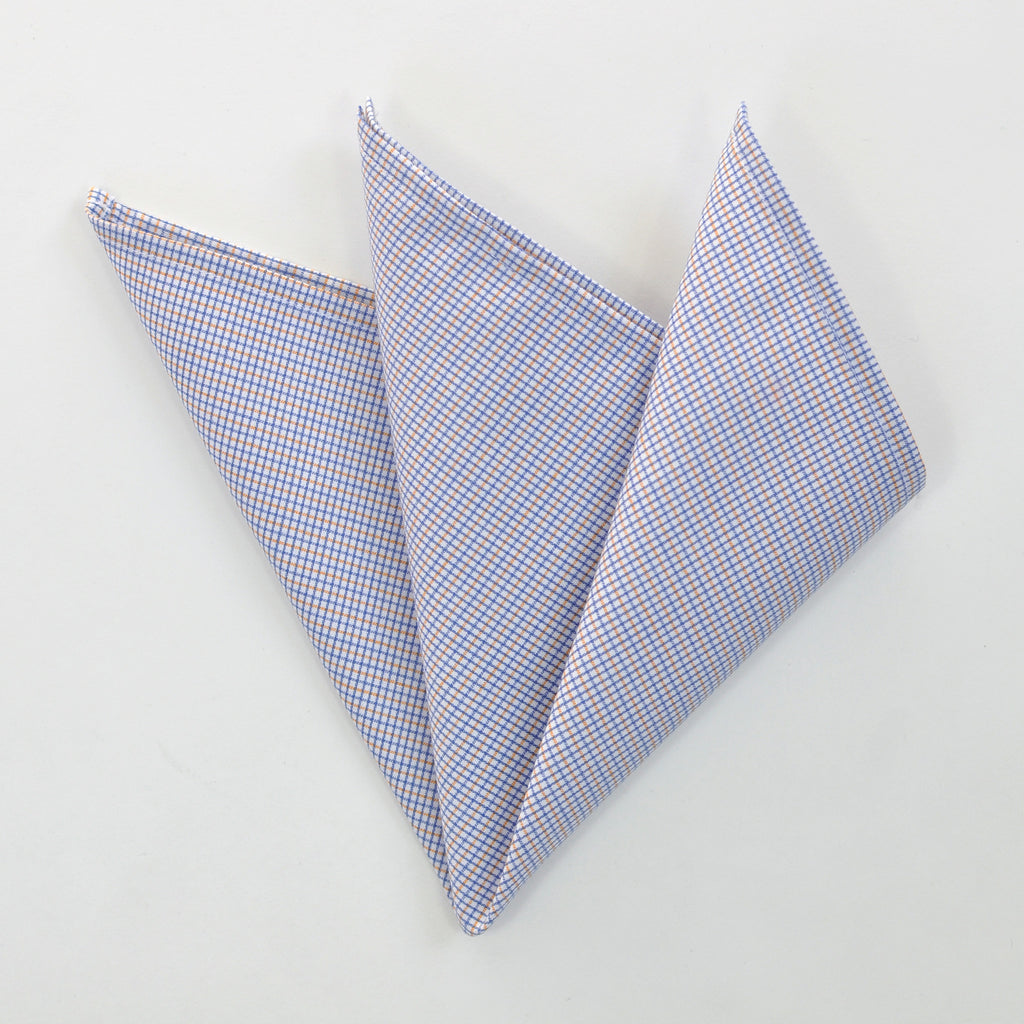 CARPASUS Pocket Square 'Classic' Blue/Orange Check