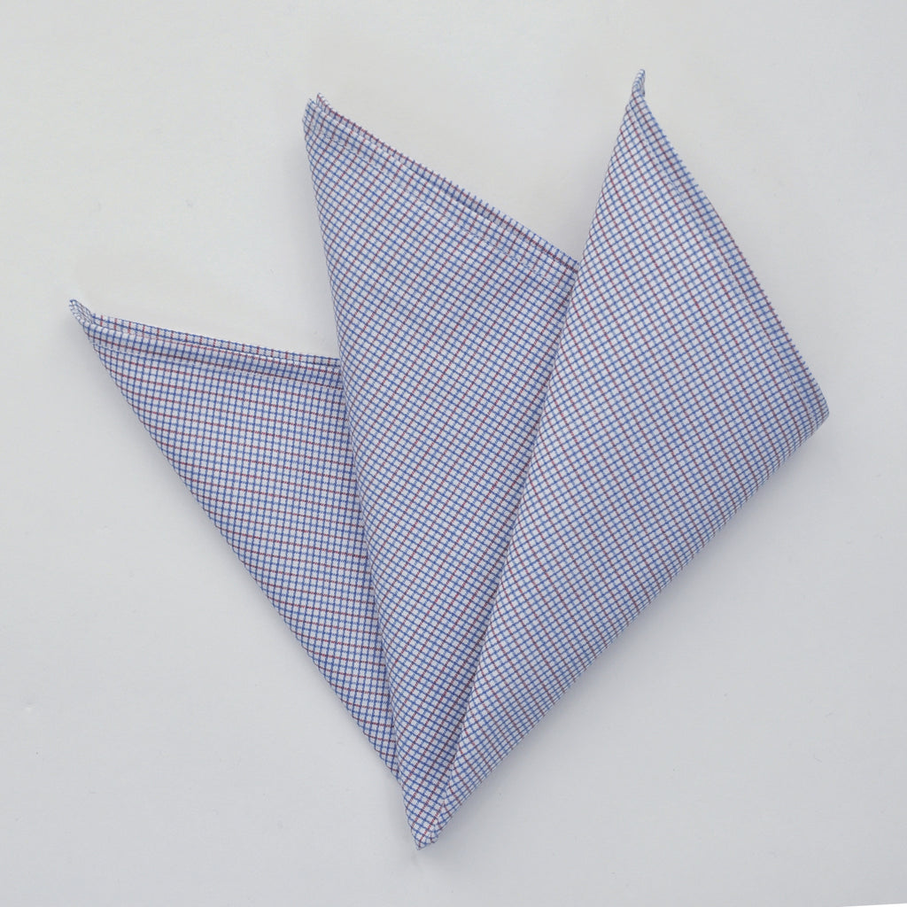 CARPASUS Pocket Square 'Classic' Blue/Red Check