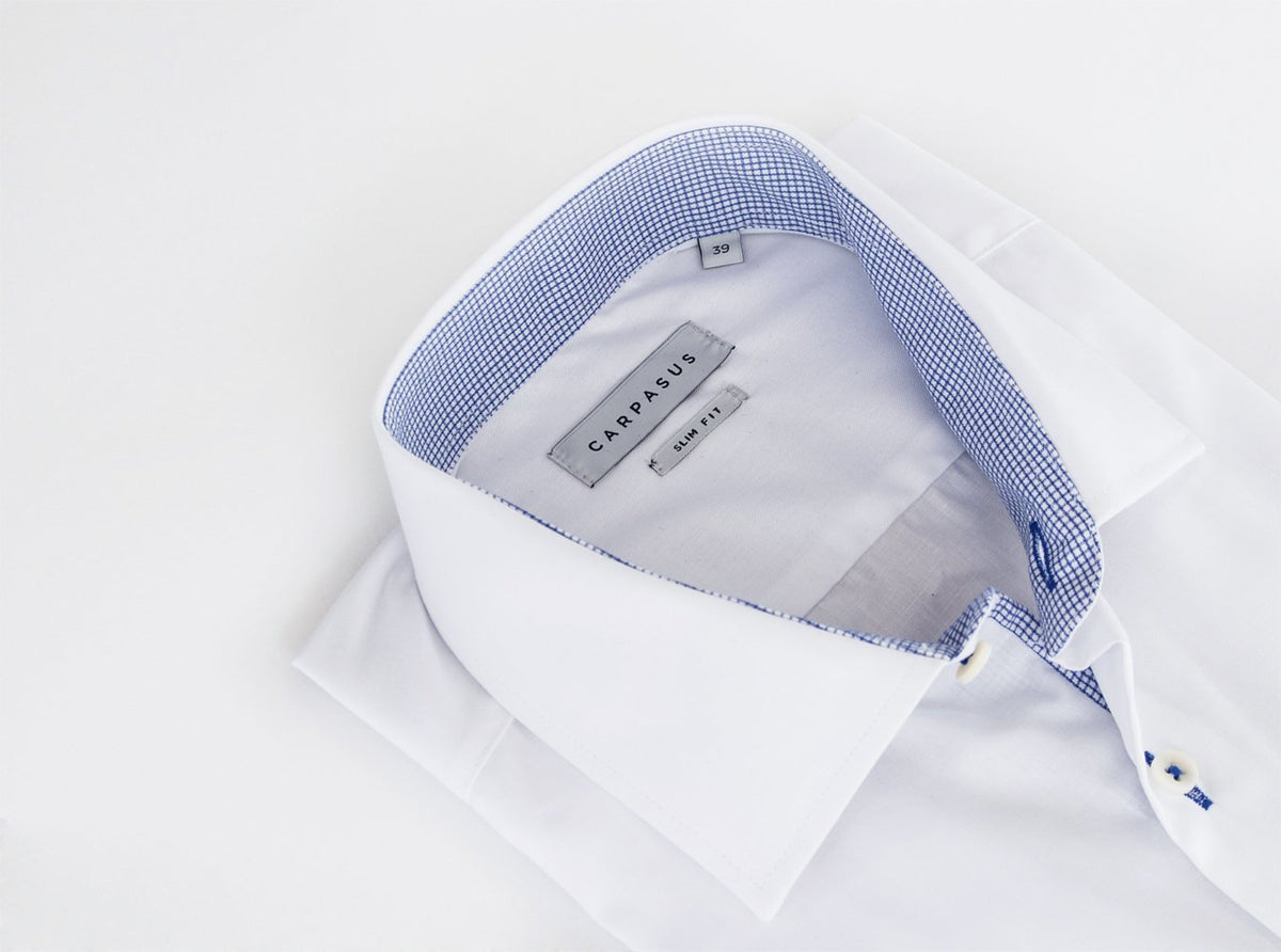 Tailor-made Dress Shirt White Contrast Blue Check