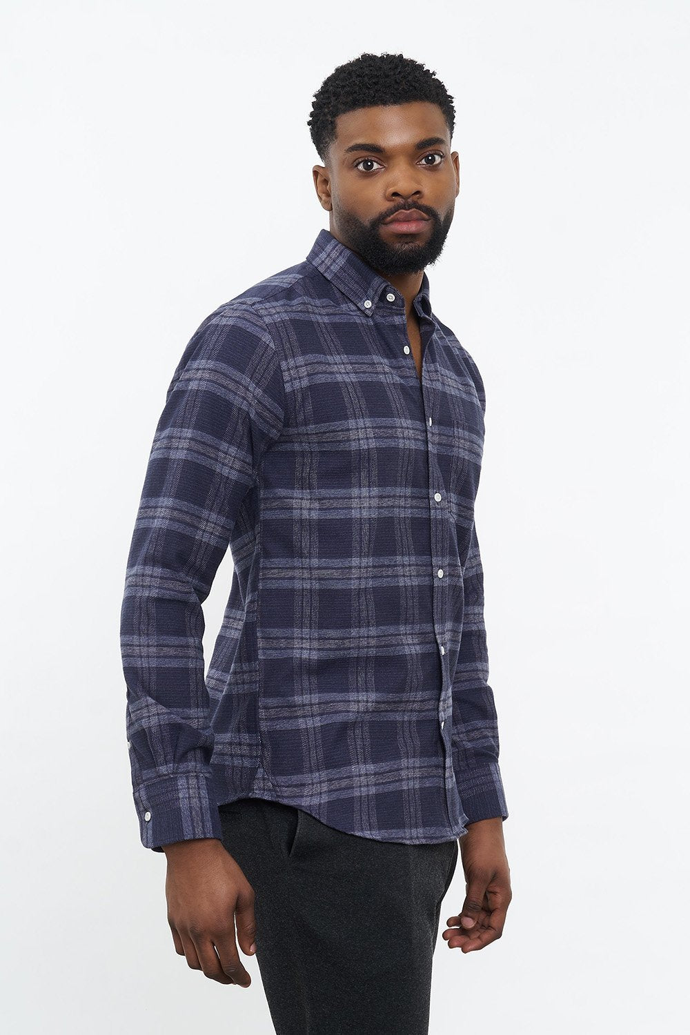 carpasus sustainable organic cotton flanell shirt abies navy. Nachhaltiges Carpasus Flanell Hemd Abies Navy aus Bio Baumwolle