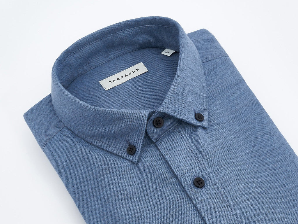 carpasus sustainable organic cotton flanell shirt populus blue. Nachhaltiges Carpasus Flanell Hemd Populus aus Bio Baumwolle in Blau
