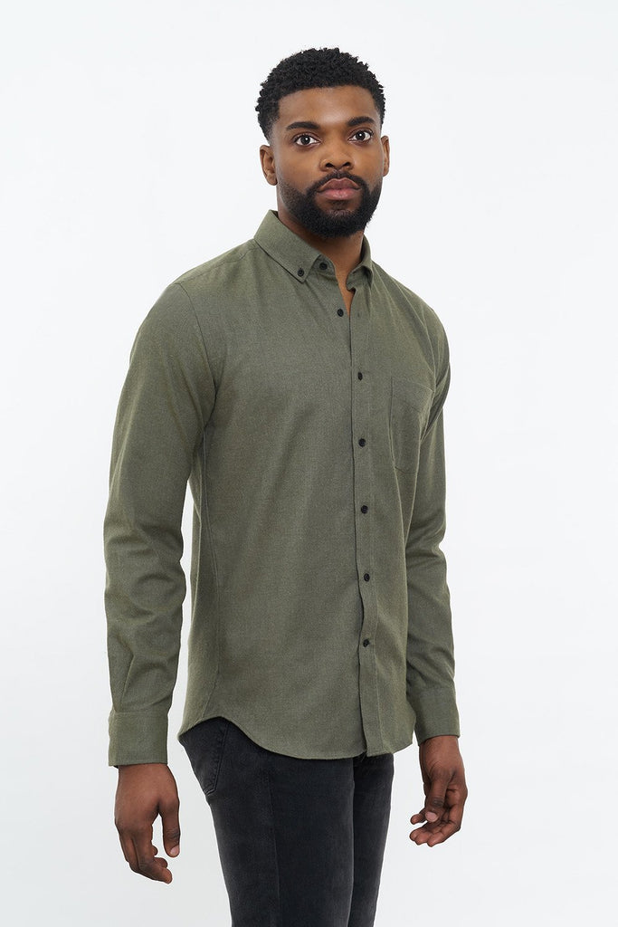 carpasus sustainable organic cotton flanell shirt populus olive. Nachhaltiges Carpasus Flanell Hemd Populus Olive aus Bio Baumwolle
