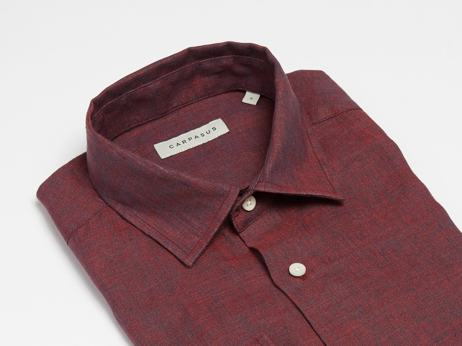 carpasus sustainable organic linen shirt semi casual single color bordeaux. Nachhaltiges Carpasus Hemd Semi Casual aus Bio Leinen in Bordeaux