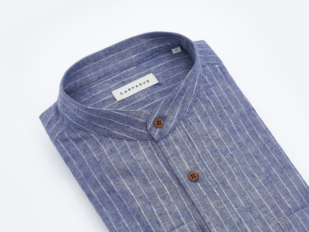 carpasus sustainable organic cotton and linen shirt scurido blue. Nachhaltiges Carpasus Hemd Scurido aus Bio Baumwolle und Leinen in Blau