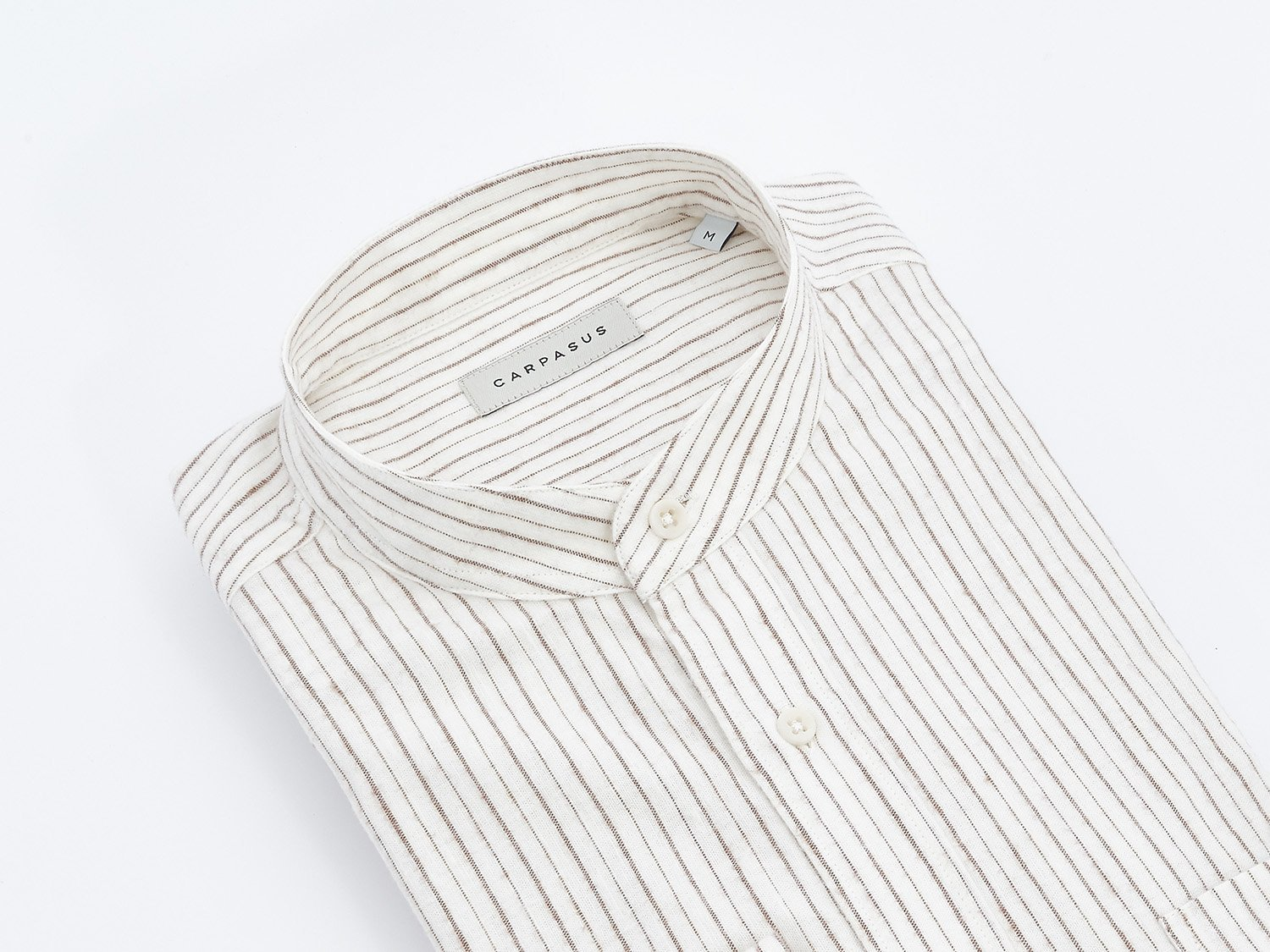 carpasus sustainable organic cotton and linen shirt scurido white/brown. Nachhaltiges Carpasus Hemd Scurido aus Bio Baumwolle und Leinen in Weiss/Braun