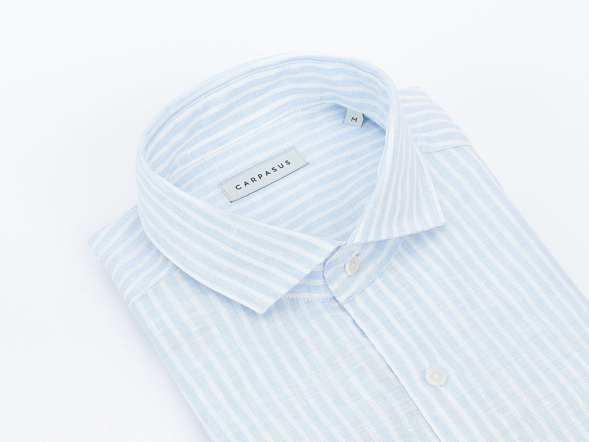 carpasus sustainable organic linen tailor-made shirt stripes light blue. Nachhaltiges Carpasus Masshemd aus Bio Leinen Streifen Hellblau.