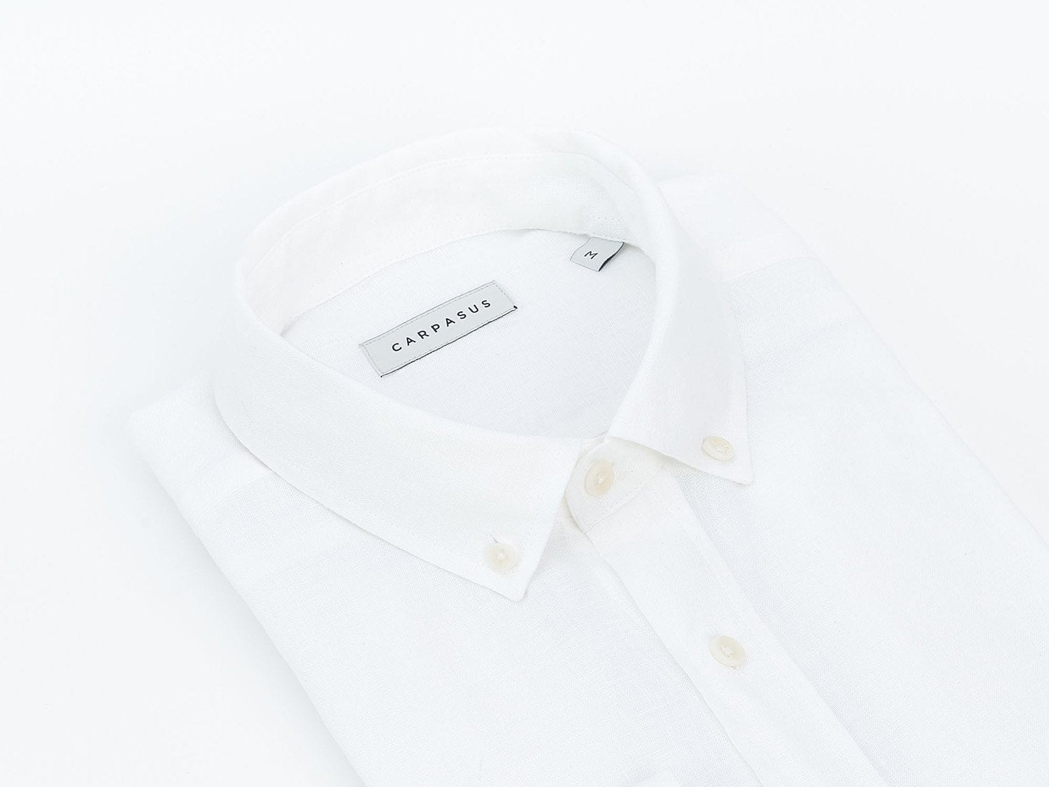 carpasus sustainable organic linen shirt single color white. Nachhaltiges Carpasus Hemd aus Bio Leinen in Weiss