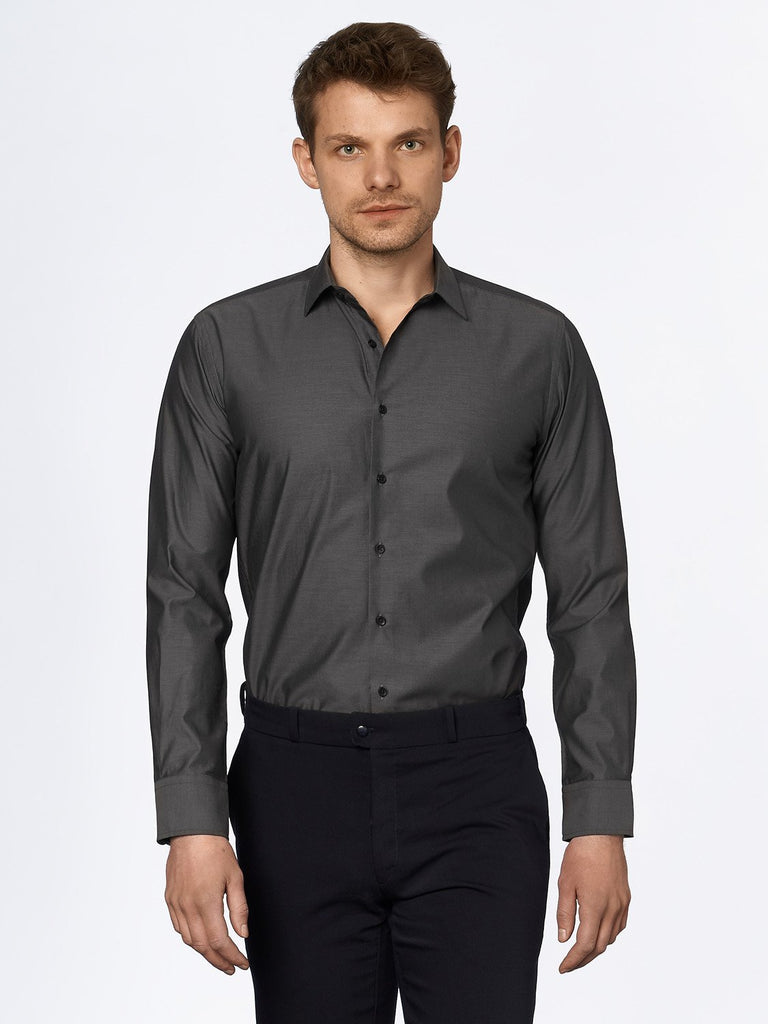 carpasus sustainable organic cotton tailor-made shirt darkgrey. Nachhaltiges Carpasus Masshemd aus Bio Baumwolle in Dunkelgrau