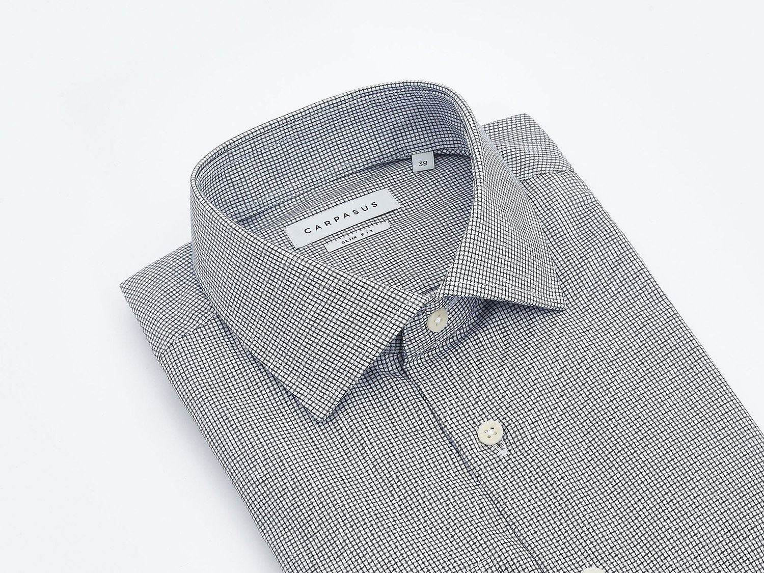 carpasus sustainable organic cotton tailor-made shirt black check. Nachhaltiges Carpasus Masshemd aus Bio Baumwolle Karo Schwarz